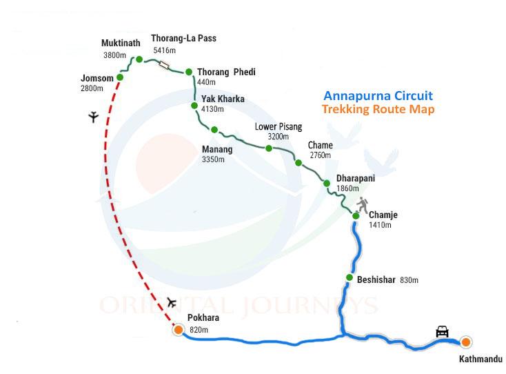 Annapurna Circuit Trek Route Map