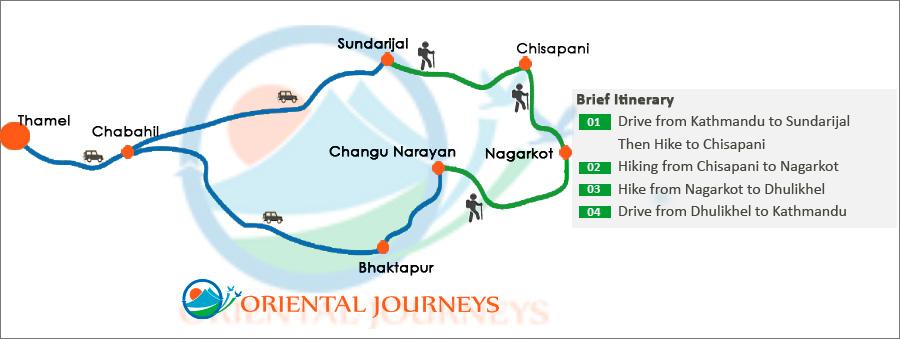 Chisapani Nagarkot Hiking Route Map
