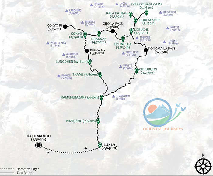 Everest Three Passes Trek Route Map