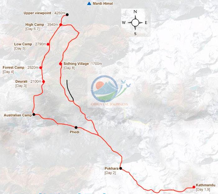 Mardi Himal Trekking Route Map