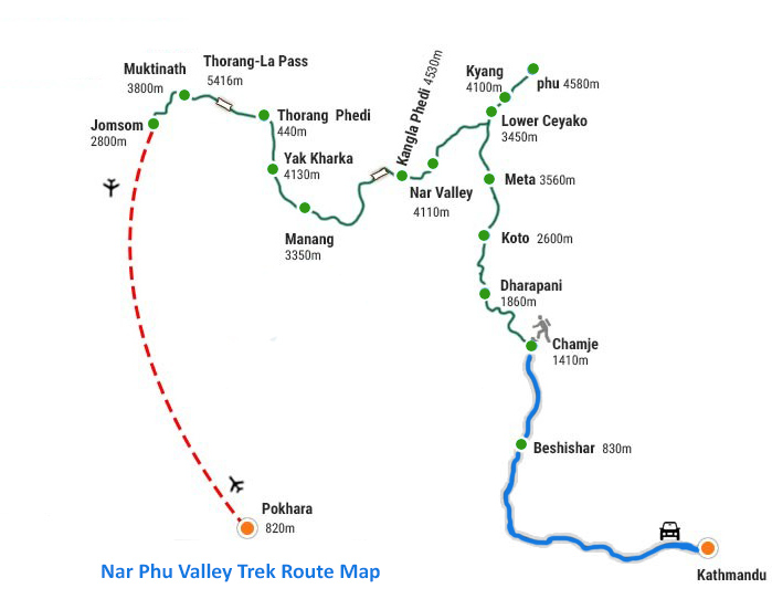 Nar Phu Valley Trek Route Map