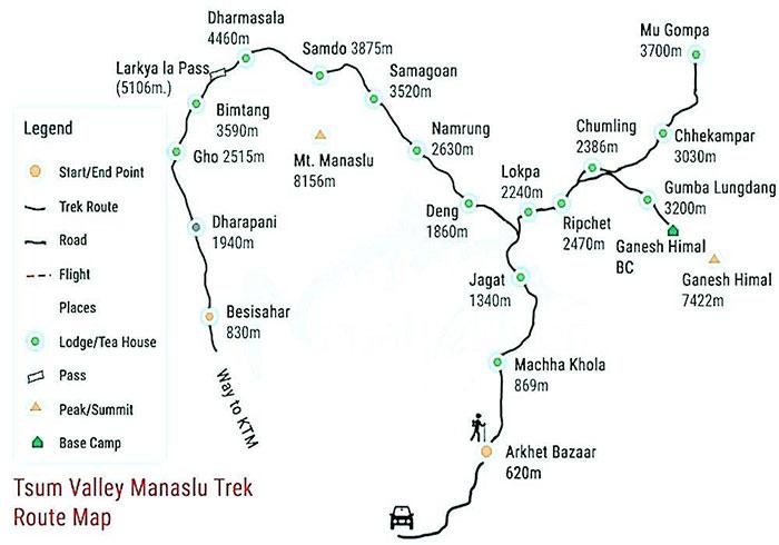 Tsum Valley Manaslu Trek Map