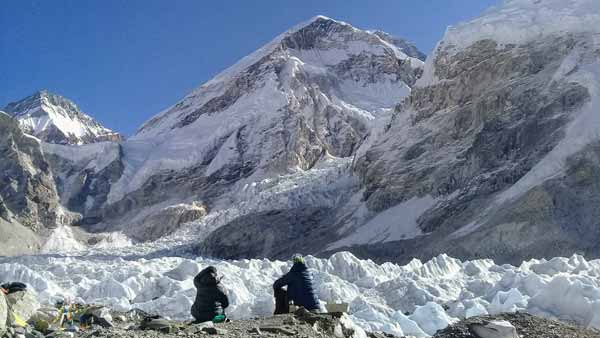 Tourists at the Everest Base Camp