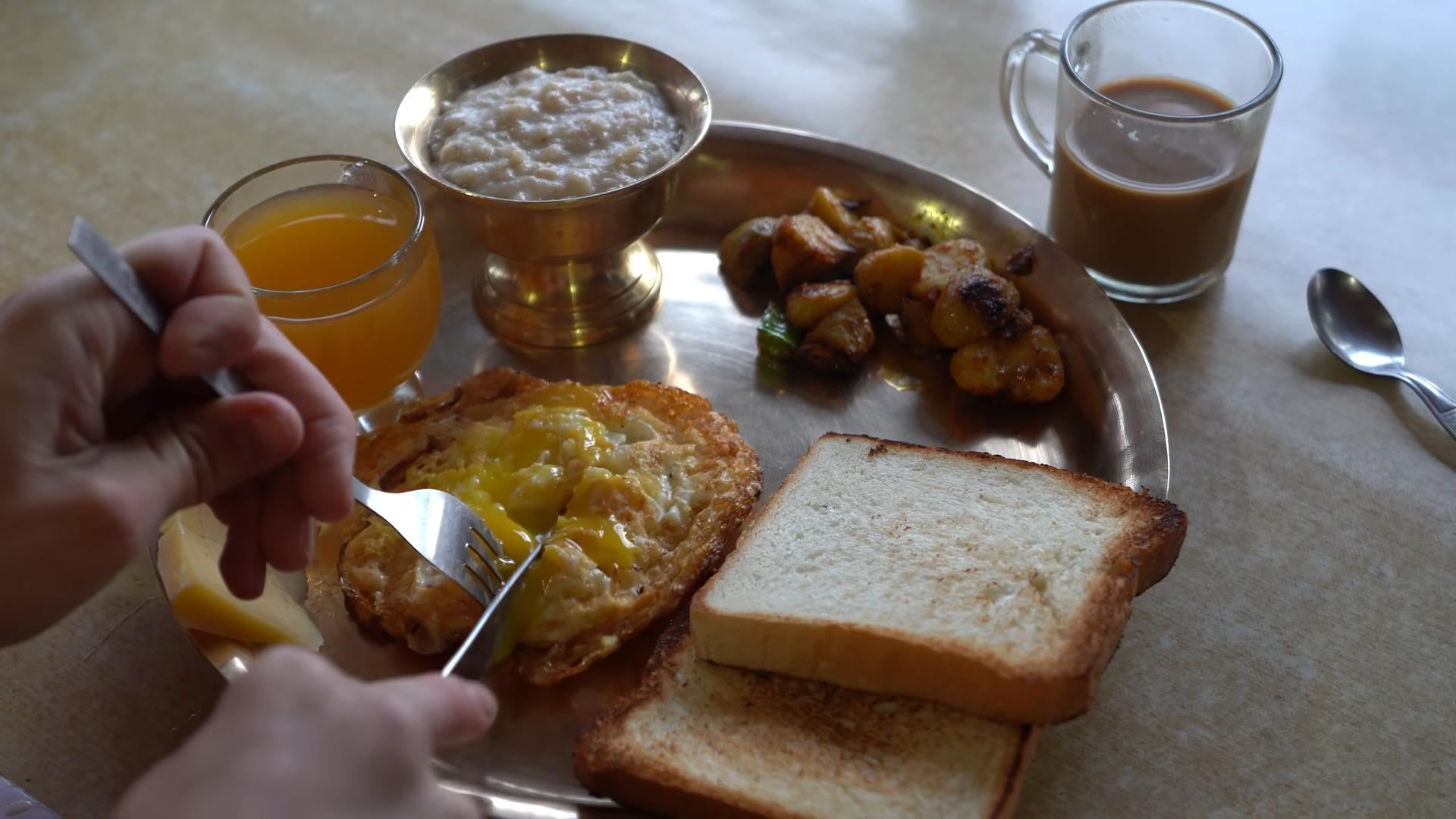 Breakfast during Mardi Himal Trekking