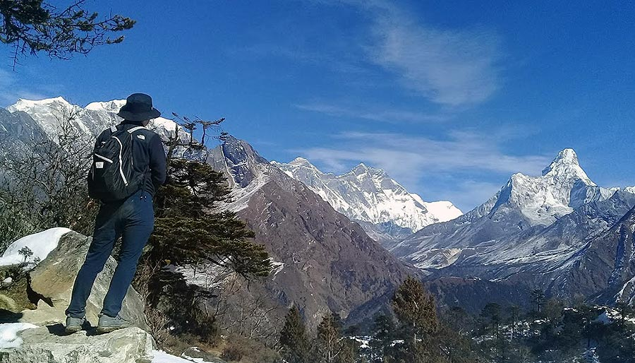 Trekking in Nepal - a scenic view from the Hotel Everest View